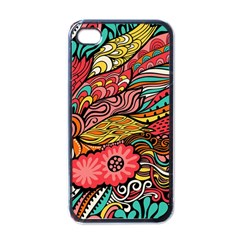 Seamless Texture Abstract Flowers Endless Background Ethnic Sea Art Apple Iphone 4 Case (black)