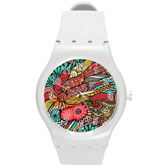 Seamless Texture Abstract Flowers Endless Background Ethnic Sea Art Round Plastic Sport Watch (m)