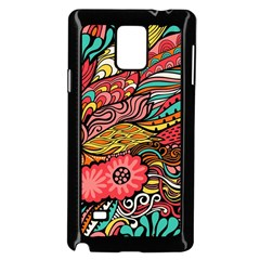 Seamless Texture Abstract Flowers Endless Background Ethnic Sea Art Samsung Galaxy Note 4 Case (black)
