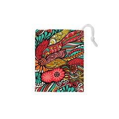 Seamless Texture Abstract Flowers Endless Background Ethnic Sea Art Drawstring Pouches (xs)