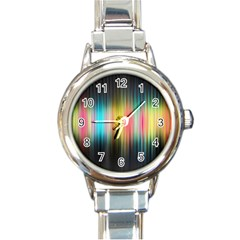 Sound Colors Rainbow Line Vertical Space Round Italian Charm Watch