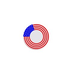 Stars Stripes Circle Red Blue 1  Mini Buttons