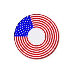 Stars Stripes Circle Red Blue Rubber Coaster (round)