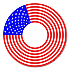 Stars Stripes Circle Red Blue Magnet 5  (round)