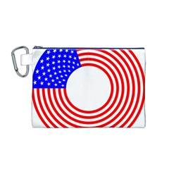 Stars Stripes Circle Red Blue Canvas Cosmetic Bag (m)