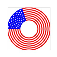 Stars Stripes Circle Red Blue Small Satin Scarf (square)
