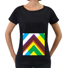 Triangle Chevron Rainbow Web Geeks Women s Loose Fit T Shirt (black)