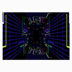 Seamless 3d Animation Digital Futuristic Tunnel Path Color Changing Geometric Electrical Line Zoomin Large Glasses Cloth (2 Side)