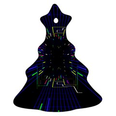 Seamless 3d Animation Digital Futuristic Tunnel Path Color Changing Geometric Electrical Line Zoomin Ornament (christmas Tree)