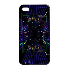 Seamless 3d Animation Digital Futuristic Tunnel Path Color Changing Geometric Electrical Line Zoomin Apple Iphone 4/4s Seamless Case (black)