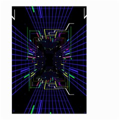 Seamless 3d Animation Digital Futuristic Tunnel Path Color Changing Geometric Electrical Line Zoomin Small Garden Flag (two Sides)