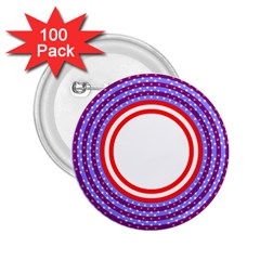 Stars Stripes Circle Red Blue Space Round 2 25  Buttons (100 Pack)
