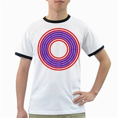 Stars Stripes Circle Red Blue Space Round Ringer T Shirts