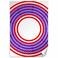 Stars Stripes Circle Red Blue Space Round Canvas 12  X 18