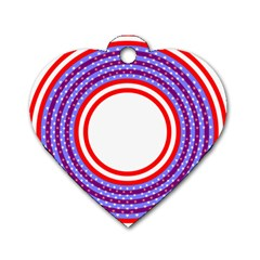 Stars Stripes Circle Red Blue Space Round Dog Tag Heart (two Sides)
