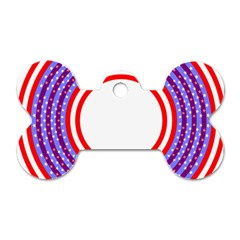 Stars Stripes Circle Red Blue Space Round Dog Tag Bone (two Sides)