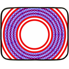 Stars Stripes Circle Red Blue Space Round Double Sided Fleece Blanket (mini)