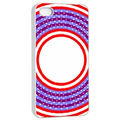 Stars Stripes Circle Red Blue Space Round Apple Iphone 4/4s Seamless Case (white)