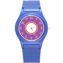 Stars Stripes Circle Red Blue Space Round Round Plastic Sport Watch (s)