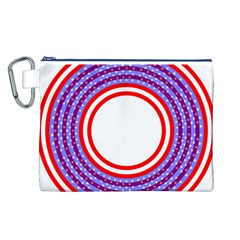 Stars Stripes Circle Red Blue Space Round Canvas Cosmetic Bag (l)