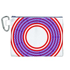 Stars Stripes Circle Red Blue Space Round Canvas Cosmetic Bag (xl)