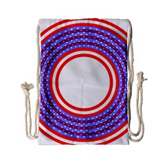 Stars Stripes Circle Red Blue Space Round Drawstring Bag (small)