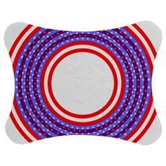 Stars Stripes Circle Red Blue Space Round Jigsaw Puzzle Photo Stand (bow)