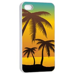 Sunset Summer Apple Iphone 4/4s Seamless Case (white)