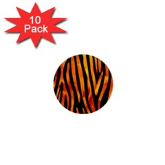 Skin4 Black Marble & Fire (r) 1  Mini Buttons (10 Pack)