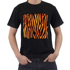Skin4 Black Marble & Fire (r) Men s T Shirt (black) (two Sided)
