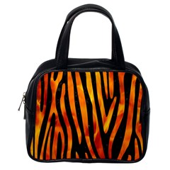 Skin4 Black Marble & Fire (r) Classic Handbags (one Side)