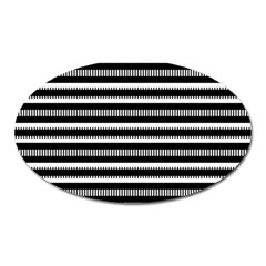 Tribal Stripes Black White Oval Magnet