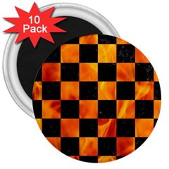 Square1 Black Marble & Fire 3  Magnets (10 Pack)
