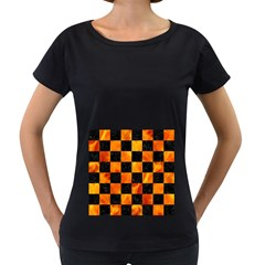 Square1 Black Marble & Fire Women s Loose Fit T Shirt (black)