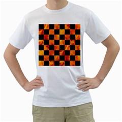 Square1 Black Marble & Fire Men s T Shirt (white)
