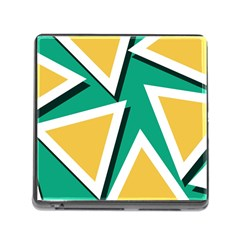 Triangles Texture Shape Art Green Yellow Memory Card Reader (square)