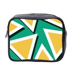 Triangles Texture Shape Art Green Yellow Mini Toiletries Bag 2 Side