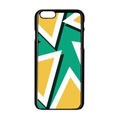 Triangles Texture Shape Art Green Yellow Apple Iphone 6/6s Black Enamel Case