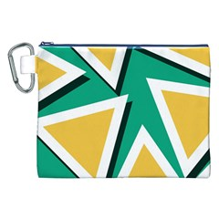 Triangles Texture Shape Art Green Yellow Canvas Cosmetic Bag (xxl)