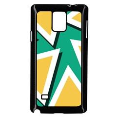 Triangles Texture Shape Art Green Yellow Samsung Galaxy Note 4 Case (black)