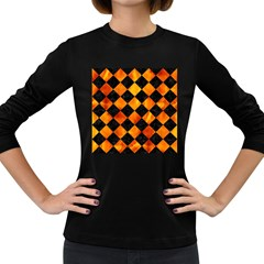 Square2 Black Marble & Fire Women s Long Sleeve Dark T Shirts
