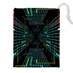 Seamless 3d Animation Digital Futuristic Tunnel Path Color Changing Geometric Electrical Line Zoomin Drawstring Pouches (xxl)