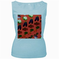 Vegetable Carrot Tomato Pumpkin Eggplant Women s Baby Blue Tank Top