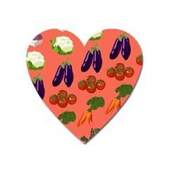 Vegetable Carrot Tomato Pumpkin Eggplant Heart Magnet