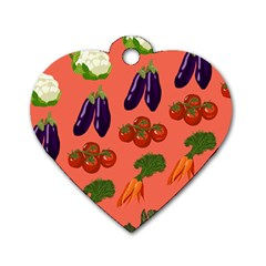 Vegetable Carrot Tomato Pumpkin Eggplant Dog Tag Heart (two Sides)