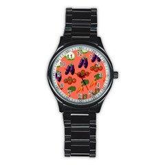 Vegetable Carrot Tomato Pumpkin Eggplant Stainless Steel Round Watch