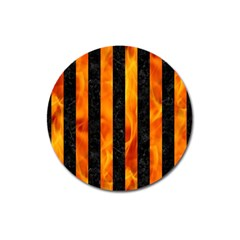 Stripes1 Black Marble & Fire Magnet 3  (round)
