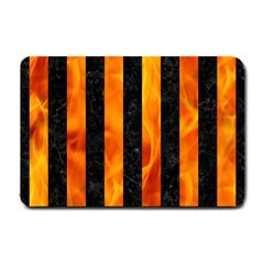 Stripes1 Black Marble & Fire Small Doormat