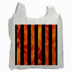 Stripes1 Black Marble & Fire Recycle Bag (one Side)
