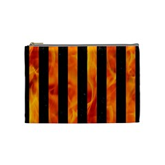 Stripes1 Black Marble & Fire Cosmetic Bag (medium)